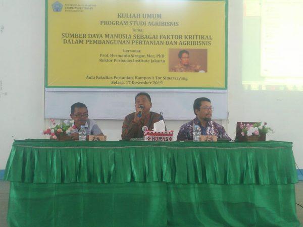 Kuliah Umum program studi Agribisnis oleh  Prof. Ir. Hermanto Siregar, MEc., PhD