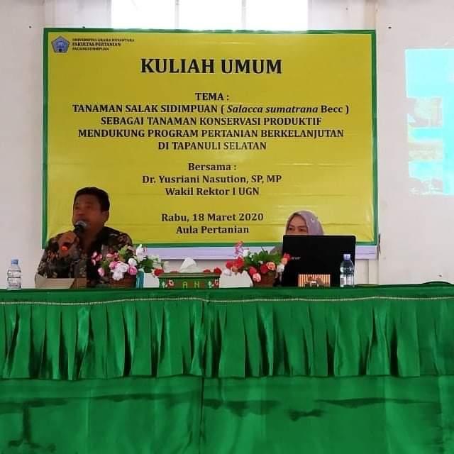 KULIAH UMUM ILMU PERTANIAN BERSAMA Dr.YUSRIANI NASUTION, S,P.,M.P