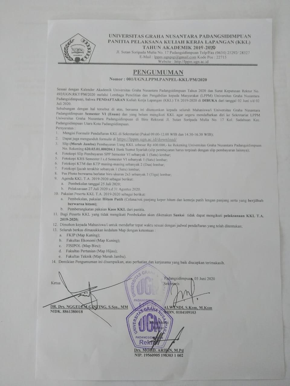 Pendaftaran Kerja Kuliah Lapangan (KKL) TA.2019-2020